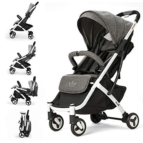 Allis Plume Lightweight Baby Travel Pram, Lightweight Stroller Pushchair with Independent Four Wheel Suspension and Five Point Harness, Grey Baby Stroller for Babies from 6 Months