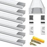 Chesbung Profilé Aluminium LED - 6x1mètre Aluminium Profilé U-forme pour Bandes à LED, Compact...