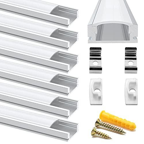 Chesbung Canal de aluminio LED en forma de U de 1 m, 6 unidades de 1 m, perfil de aluminio con cubierta. Canales LED y difusores con tapas y clips de montaje