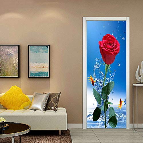 Door Stickers, Door Mural, Door Photo Sticker, Removable, self-Adhesive Home Decoration, 3D, Waterproof, Red Rose