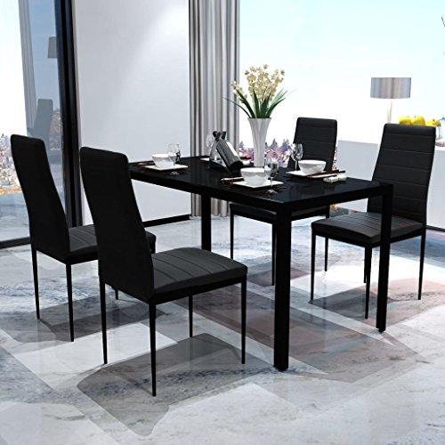 UnfadeMemory Essgruppe Esstisch und Essstuhl Set Glas-Tischplatte Esszimmertisch mit Küchenstuhl Esszimmergarnitur Tischgruppe (1 Esstisch mit 4 Stühlen, Schwarz)