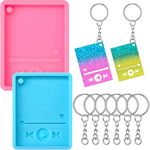 2 Pieces Media Player Resin Mold and 24 Pieces Key Rings with Chains Keychain Silicone Epoxy Moulds Candy Casting Molds for Polymer Clay DIY Jewelry Making and Baking Crafting Decor Supplies