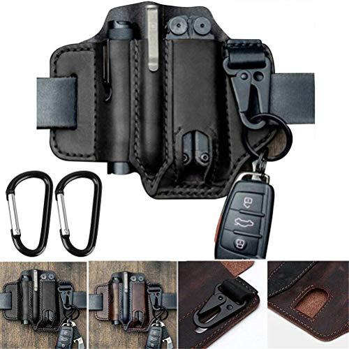 Multitool Leather Sheath EDC Pocket Organizer, EDC Lederscheide Organizer, Werkzeug Holster Leder, Messergürtel, Taschenlampenholster, Organizerscheide mit 3 Taschen, High Leather Quality (Schwarz)
