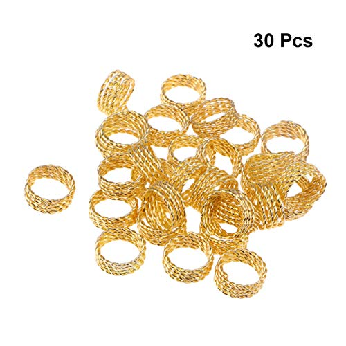 Lurrose 30 Pcs Hair Cuffs Metal Mini DIY Plated Decorative Hair Braid Rings Dreadlocks Braiding Beads Dread Locks Ring Filigree Tube for Girls Women Golden