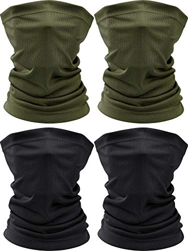 4 Pieces Summer Face Scarf Mask Dust Sun Protection Thin Breathable Neck Gaiter Windproof (Black, Green)