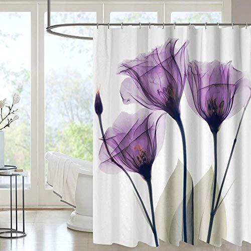 Duschvorhang mit Metallhaken, 182,9 x 182,9 cm dick, strapazierfähiger Stoff, Badezimmer-Duschvorhang-Set mit Haken, kein chemischer Geruch, rostwiderstandsfähige Ösen, moderne Heimdekorationen, lila Blume