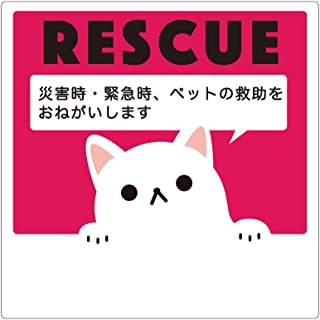 Biijo 災害救助依頼ステッカー レスキュー ペット シール 書込可能 サイズタテ13.5cm×ヨコ13.5cm (赤・猫)