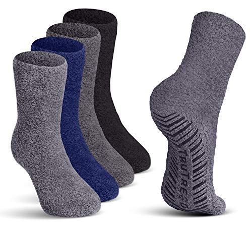 TruTread Fuzzy Socks for Women & Men - Non Slip/Skid Hospital Crew Socks - 4 Pairs