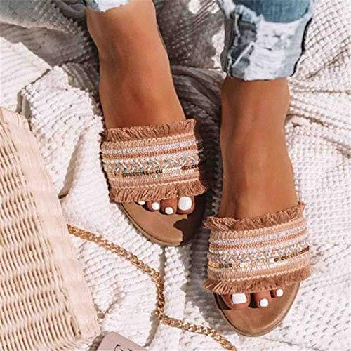 YFWJD Sandalias De Mujer para Verano Bohemias Elegantes Cómodas Romanas Sandalias Zapatos De Playa Punta Abierta Sandalias,Apricot,43