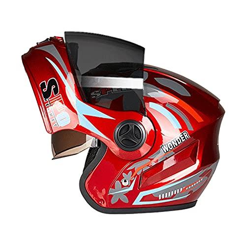 Blesiya Motorradhelme Modular hochklappbar Doppelvisiere Integralhelme Doppelte Belüftungsöffnungen Einheitsgröße - rot