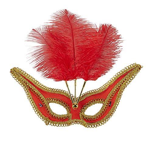 Widmann Generique - Loup Baroque avec plumettes Rouges Femme