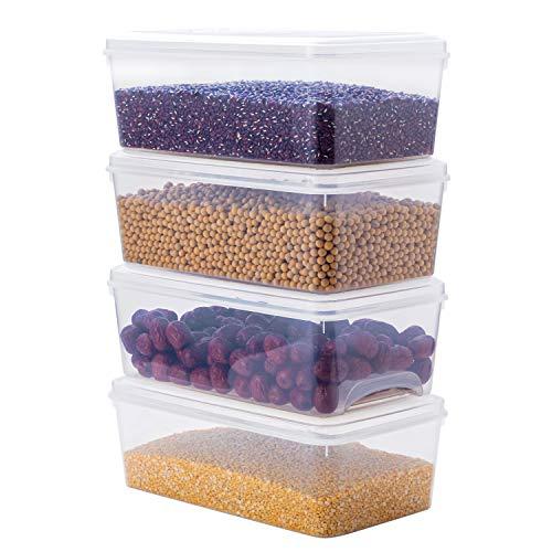 Contenedores de almacenamiento de plástico, 4 unidades, 4.5 cuartos de galón, recipientes de almacenamiento de plástico transparente con tapas