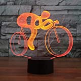 Xdorra Led Light Riding Bike 3D Visual Night Lights 7 Colors Changing Touch