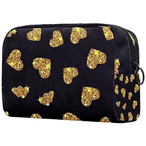 Motif Coeur Scintillant doré Noir, Trousse de Maquillage Pochette Cosmétique avec Sac à Cosmétiques de Voyage Portable à Glissière Noire pour Femmes