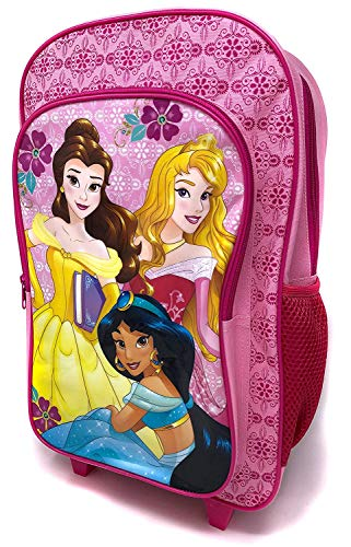 Disney Princess Girls Pink Backpack Trolley Deluxe Wheeled Suitcase Cabin Bag School