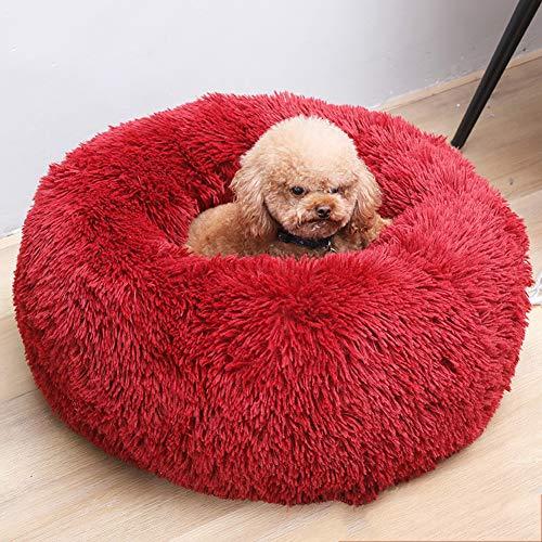 Soft Pet Bed Wasbaar Comfortabele Ronde Nest Slapende Kussens voor Katten en Honden, Knuffel Kennel Zachte Puppy Warm Kat Matten Bed Slaapzak, Diameter 70 cm / 27.6 inch, Rood