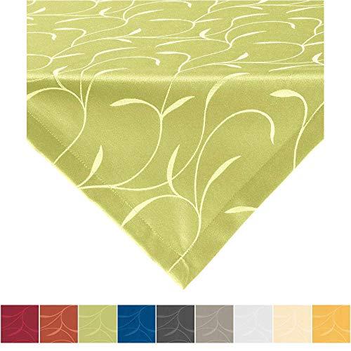 Erwin Müller Tischwäsche, Mitteldecke, Tischdecke Uni, Remscheid grün Größe 80x80 cm - hochwertige Qualität mit Fleckschutz ausgerüstet und Kuvertsaum, Rankenmuster (weitere Farben, Größen)