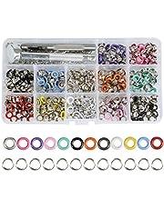 JAOMON 360 Juego de Ojales Ojal de Metal, Kit de Ojales Herramientas Herramienta de Ajuste de Pico Ojales de Diámetro Interior de 5 mm con Caja de Almacenamiento (12 colores)