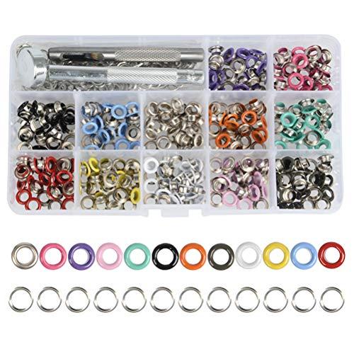 OFNMY Ösen Set Metallösen Grommet Werkzeug Kit Tüllen Einstellwerkzeug 5mm Innendurchmesser Ösen mit Aufbewahrungsbox(360 Stück, 12 Farben)