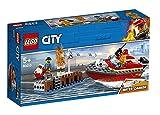 LEGO CityFire IncendioalPorto, Set di Costruzioni con Motoscafo Antincendio con Cannone ad Acqua e Minifigure di Pompiere, Giocattolo da Bagno per Bambini di 5 Anni, 60213