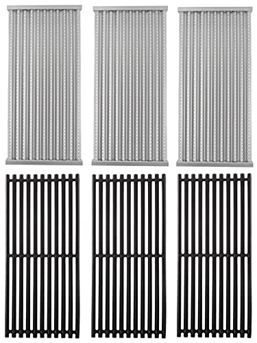 Cast Iron Grill Grate & Stainless Steel Emitter Plate Replacement Kit for Charbroil 463242516, 463242515, 466242515, 466242615, 463243016, 463367516, 463367016, 466242516, 466242616,463346017,3PCS Set