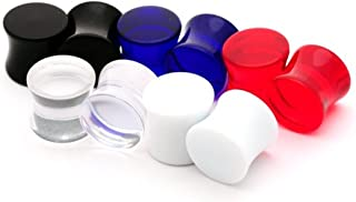 Set of 5 Pairs Large Gauge Acrylic Plugs (Black, Clear, Blue, Red, White)
