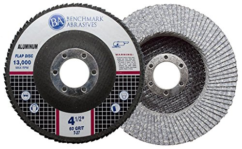 Benchmark Abrasives 4.5' x 7/8' Type 27 Stearate Coated Flap Disc for Aluminum (60 Grit)