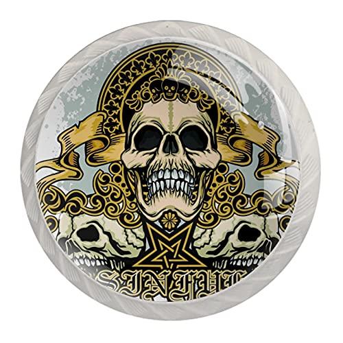 Skull Union, 4 piezas de pomos de gabinete de cocina de ABS estilo Mord, asas redondas para cajones y cajones