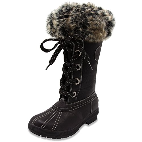 LONDON FOG Womens Melton Cold Weather Waterproof Snow Boot Black 8 M US