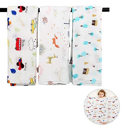 LEADSTAR Puckdecke, 3er Baby Musselin Pucktücher Pucktuch Swaddle Decke Tücher, 120x120 cm Baby Bambus Baumwolle Wickeltuch Badetuch Spucktücher Swaddle Wrap für Neugeborene Junge und Mädchen