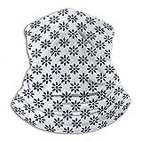 Linger In Floral Abstracto estilizado pétalos de Flores Temporada de Verano Elegancia en Colores cremosos patrón Blanco añil Cuello Calentador Polaina