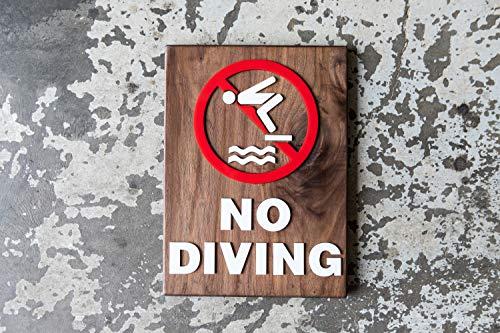 """Ced454sy """"No Diving Swimming Pool""""-Schild, 22,9 x 30,5 cm, lasergeschnitten, handgeschrieben, Holz und Acryl, für drinnen und draußen, viele Holzoberflächen erhältlich"""