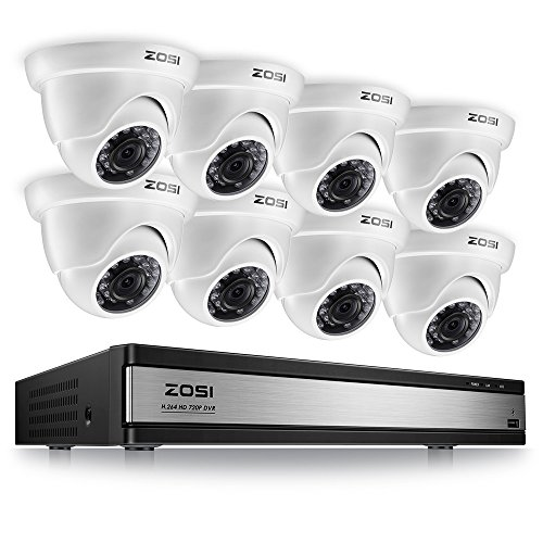ZOSI 720p 16 Channel Security Camera System,16 Channel Full HD DVR Recorder with 8 x 1280TVL(720p) Dome Camera Outdoor/Indoor,Motion Detection and Remote Access Easily,No Hard Drive