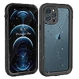 Fansteck Funda Impermeable para iPhone 12pro, Carcasa Resistente Al Agua IP68, Waterproof Case Protección de 360 Grados con Protector de Pantalla Anti-Choque Anti-Arañazos Sumergible (Black)