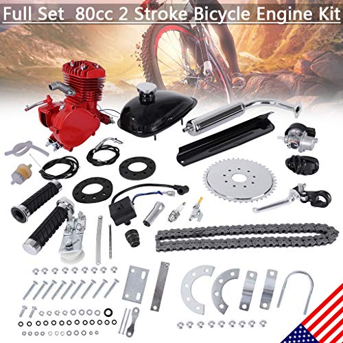 New Red 80 C-C 2 Cycle Gas Motor Motorized Engine Bike Bicycle Moped Scooter Kit,Practical Accessories, Safety,Durable