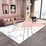 Kunsen dormitorios Juveniles Alfombra Gateo Bebe Alfombra Rectangular de salón Blanco Rosa Rectangular Lavable a máquina alfombras habitacion 200X300CM 6ft 6.7' X9ft 10.1'