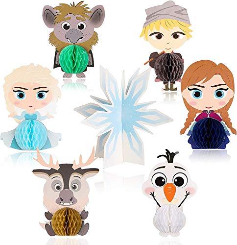 BeYumi 7 Stück Schnee Princess Thema waben Dekoration,Mitgebsel,Tisch Topper für Mädchen Geburtstag Party Dekoration,Prinzessin Thema Party
