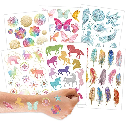 100 Metallic-Tattoos zum Aufkleben - Hautfreundliche Kindertattoos Mandala - coole Designs - als Geburtstagsmitgebsel oder Geschenkidee - Vegan - in Deutschland hergestellt und geprüft