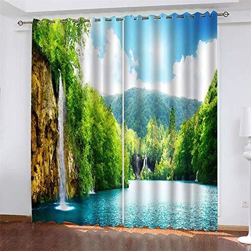 YUNSW Landschaftsmalerei 3D Digitaldruck Vorhänge, Garten Wohnzimmer Küche Schlafzimmer Verdunkelungsvorhänge, Perforierte Vorhänge 2-teiliges Set