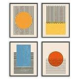 W.O.W.A- Mid Century Modern Abstract Art Prints | Set of 4 Modern Abstract Wall Art Prints | Midcentury Modern Wall Art | Geometric Decor | Abstract Modern Art|Art Prints Wall Decor (8'x10', UNFRAMED)
