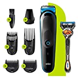 Braun 7-in-1 Trimmer MGK3245 Electric Shaver, Face Trimmer and Hair Clipper Black/Blue