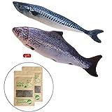 Balai Catnip Toys for Cat Interactive Fish Shape Pets Cat Pillow Chew Toy Doll (M, 2PCS Fish Pack)