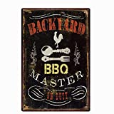 UOOPAI Backyard BBQ Master Metal Tin Sign, Vintage Plate Plaque