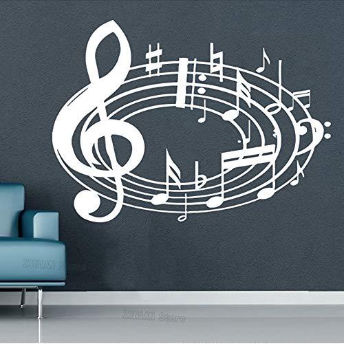 Yaonuli muzieknoten, golven, muurstickers, muzieknoten, jongeren, stickers voor studio, opname, vioolsleutel, bloemenmotief, decoratie voor thuis, slaapkamer