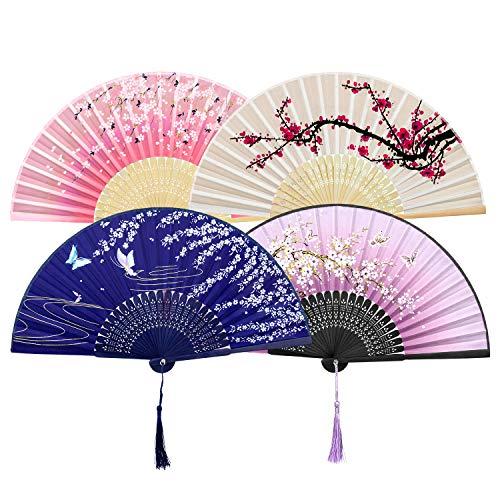 GuKKK Abanicos de Mano Plegable, 4 Pcs Ventilador de Mano Japones, Plegables...
