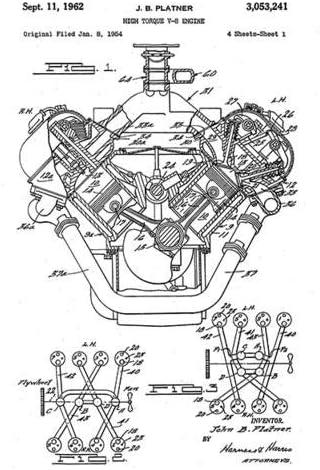 Amazon.com: 1962 - Chrysler 426 Hemi V8 High Torque Engine - J. B. Platner  - Patent Art Poster: Posters & PrintsAmazon.com