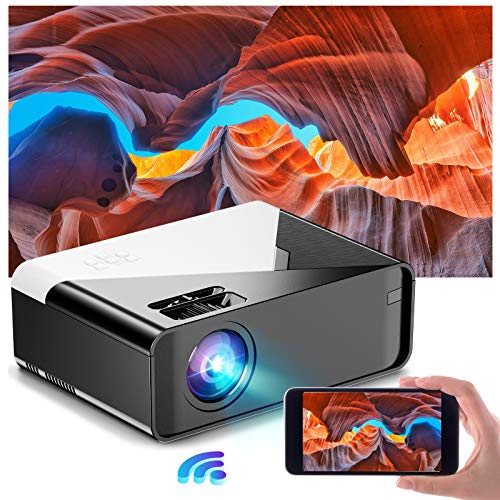 Mini Projector, Betife Portable WiFi Movie Projector with Synchronize Phone Screen,1080P Supported Home Projector, Full HD Video Outdoor Movie Projector with HDMI, VGA, TF, AV, USB Interfaces