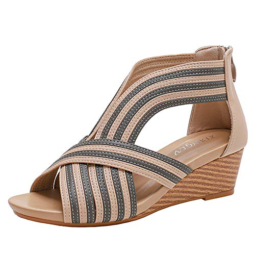 Shhyy Sandalias de cuña para Mujer-Sandalias de Playa de Verano-Sandalias Bohemias-Sandalias de Cuero con diseño Cruzado,Beige,42