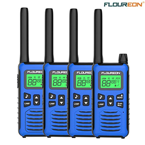 4 Pack Walkie Talkie for Kids FLOUREON Two Way Radio Long Range Walky Talky 22 Channel 3000M (MAX 5000M) USB Cable Charging for Outdoor Adventures Camping Hiking