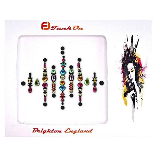 FunkOn® Rainbow Pride Face gem Diamante Stick on Face jewels Multi Coloured Large Festival Bindi Colourful Glitter Body Sticker Festival make up accessories bc17